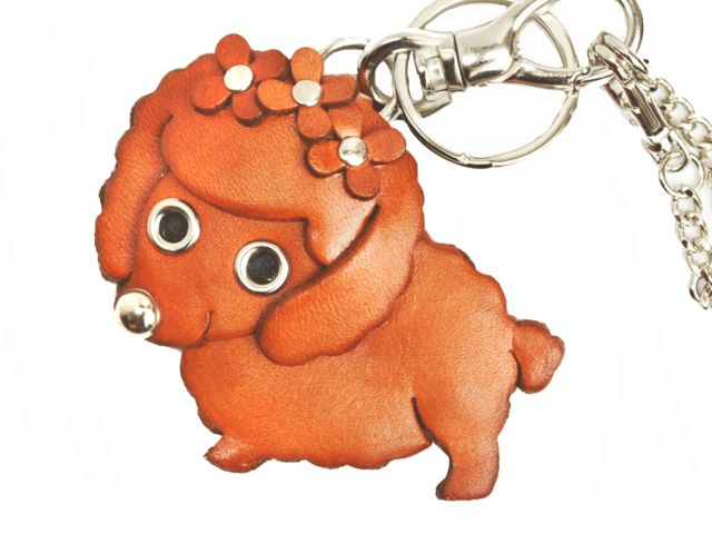 TOY POODLE LEATHER DOG BAG CHARM