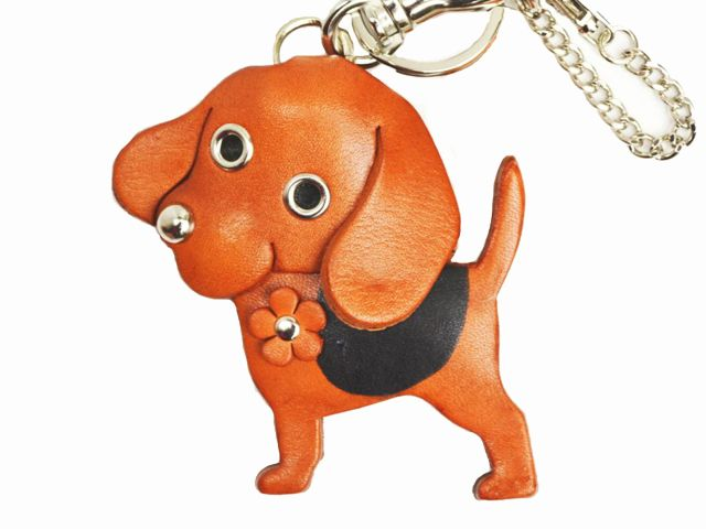 BEAGLE LEATHER DOG BAG CHARM
