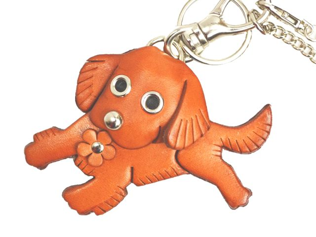GOLDEN RETRIEVER LEATHER DOG BAG CHARM
