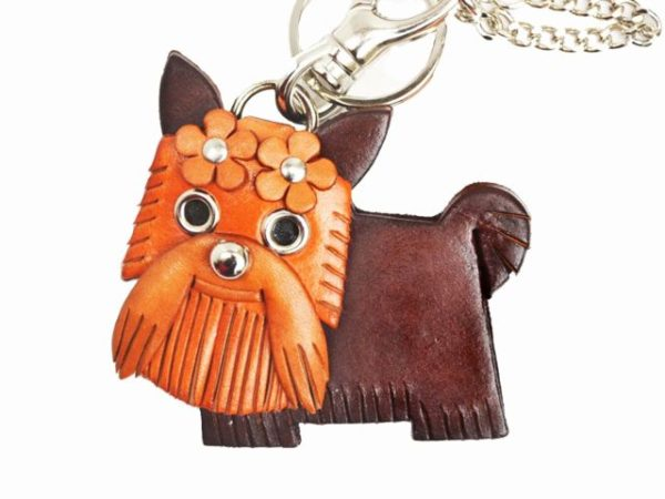 YORKSHIRE TERRIER LEATHER DOG BAG CHARM