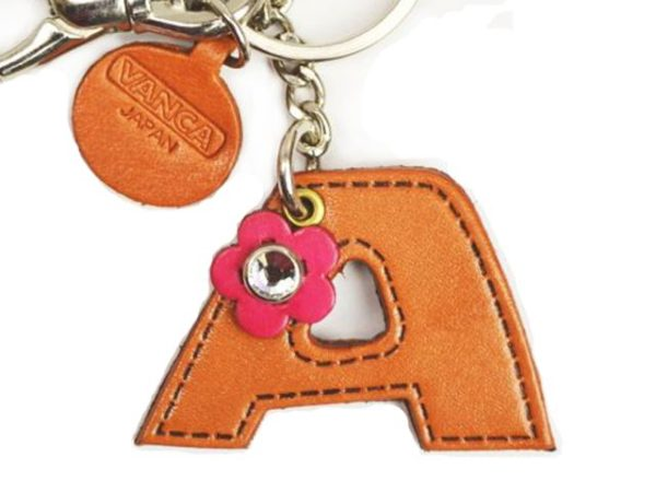 INITIAL A LEATHER KEYCHAIN BAG CHARM