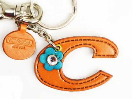 INITIAL C LEATHER KEYCHAIN BAG CHARM