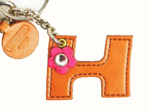 INITIAL H LEATHER KEYCHAIN BAG CHARM