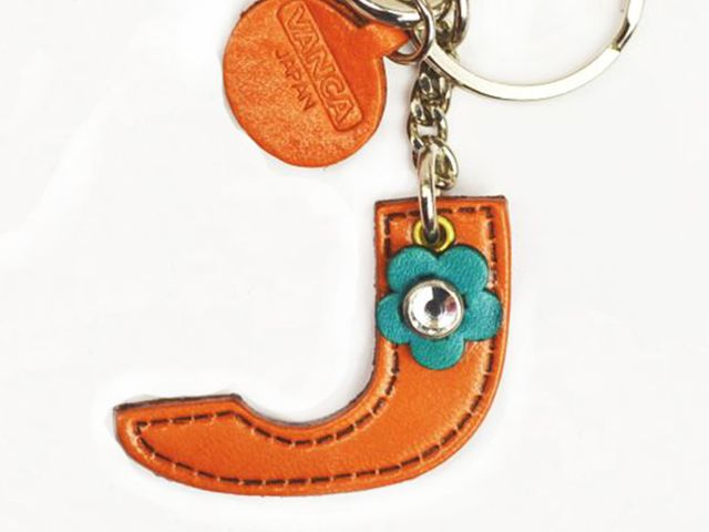 INITIAL J LEATHER KEYCHAIN BAG CHARM