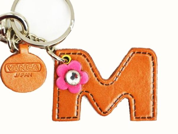 INITIAL M LEATHER KEYCHAIN BAG CHARM