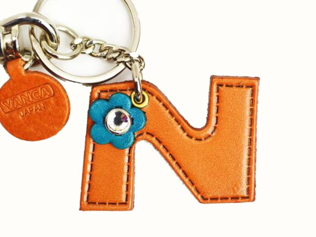 INITIAL N LEATHER KEYCHAIN BAG CHARM