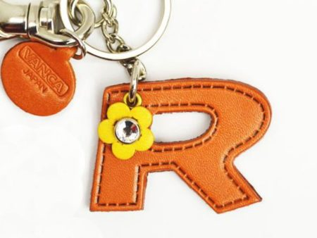 INITIAL R LEATHER KEYCHAIN BAG CHARM