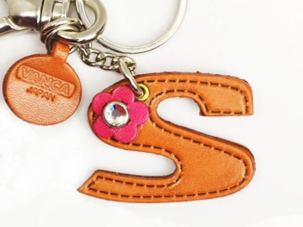 INITIAL S LEATHER KEYCHAIN BAG CHARM