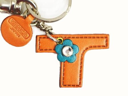 INITIAL T LEATHER KEYCHAIN BAG CHARM