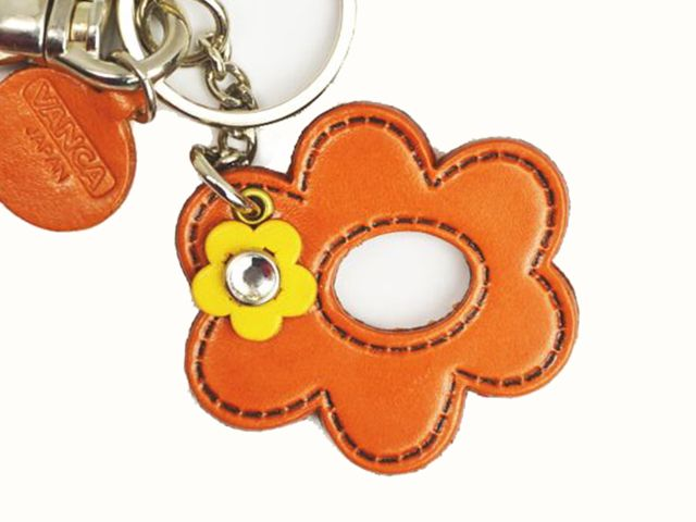 SYMBOLS FLOWER LEATHER KEYCHAIN BAG CHARM
