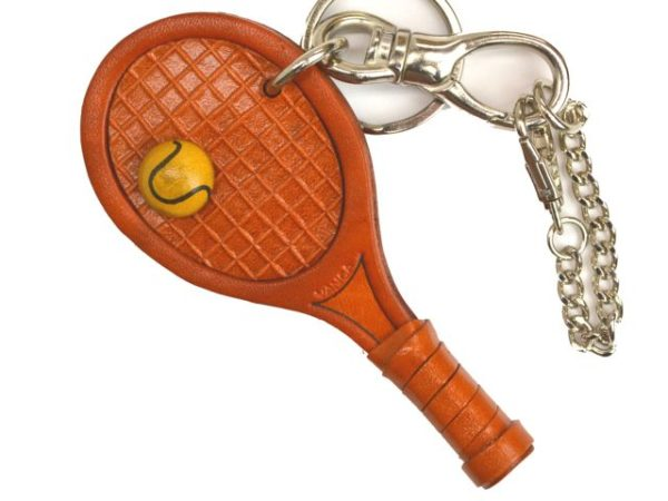 TENNIS RACKET LEATHER SPORTS BAG CHARM