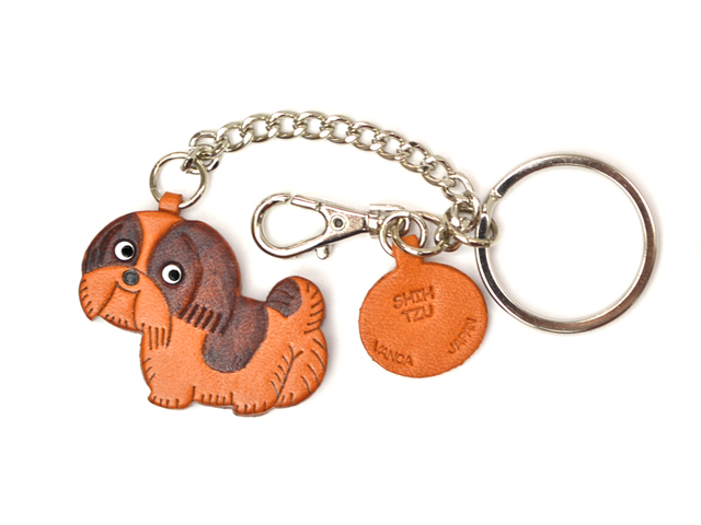 SHIH TZU LEATHER RING CHARM