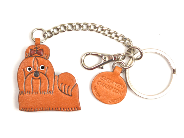 SHIH TZU CHAMPION LEATHER RING CHARM