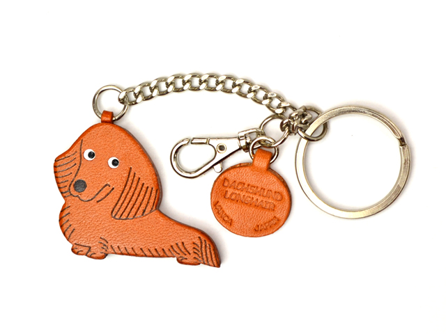 DACHSHUND LONGHAIR LEATHER RING CHARM