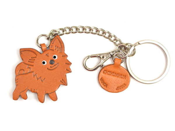 CHIHUAHUA LONG HAIRD LEATHER RING CHARM