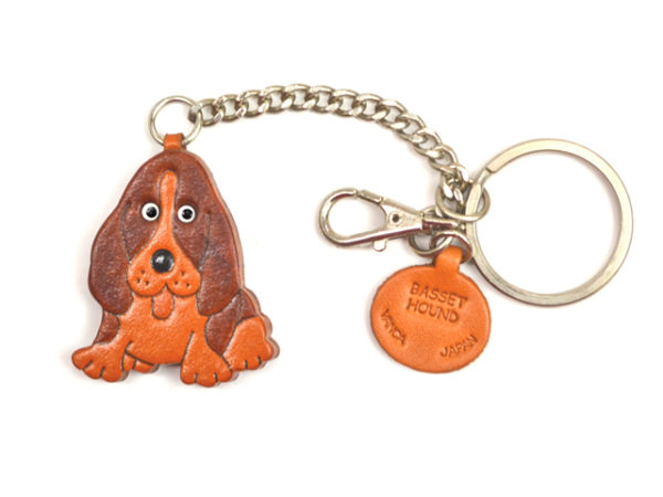 BASSET HOUND LEATHER RING CHARM