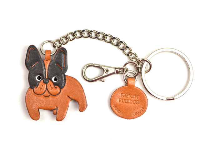 FRENCH BULLDOG LEATHER RING CHARM