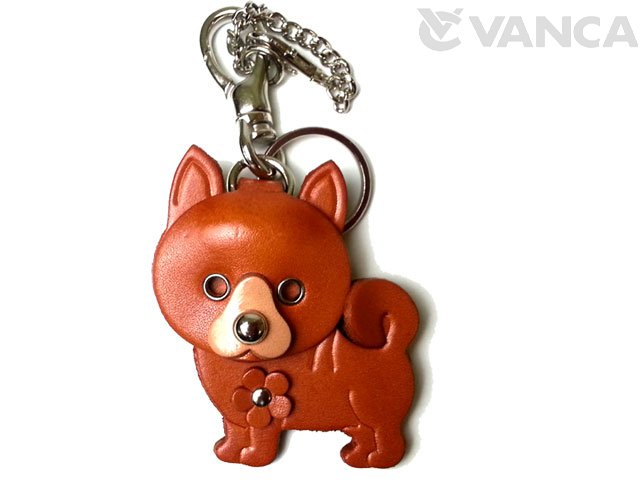 SHIBA LEATHER DOG BAG CHARM