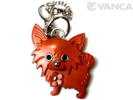 CHIHUAHUA LONG HAIRD LEATHER DOG BAG CHARM