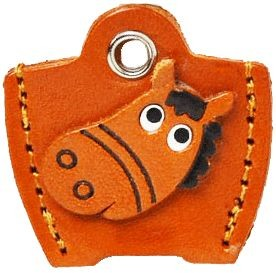 LEATHER KEY COVER CAP KEYCHAIN HORSE