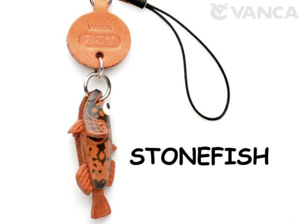 STONE FISH LEATHER CELLULARPHONE CHARM FISH