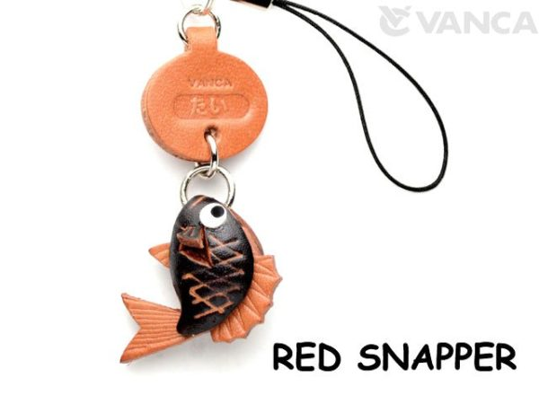 RED SNAPPER LEATHER CELLULARPHONE CHARM FISH