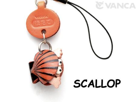 SCALLOP LEATHER CELLULARPHONE CHARM FISH