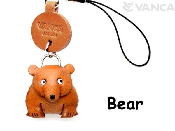 BEAR LEATHER CELLULARPHONE CHARM ANIMAL