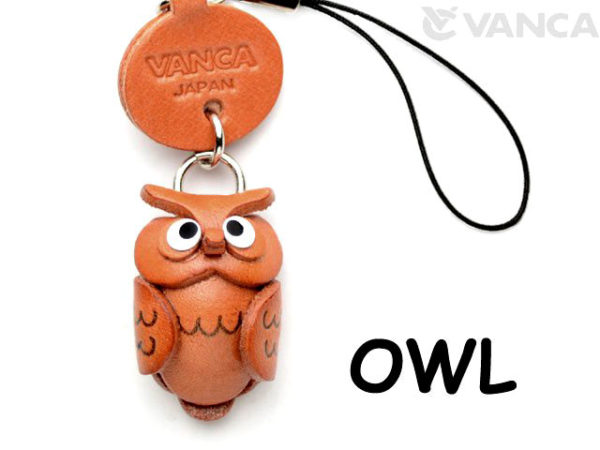 OWL LEATHER CELLULARPHONE CHARM ANIMAL