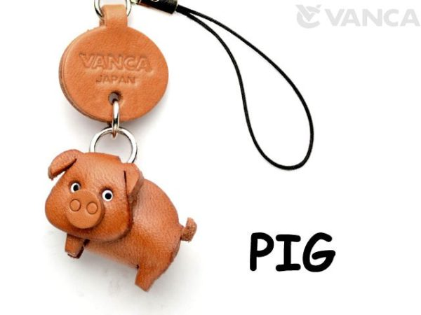 PIG LEATHER CELLULARPHONE CHARM ANIMAL