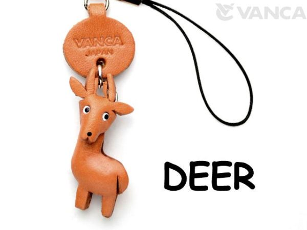 DEER LEATHER CELLULARPHONE CHARM ANIMAL