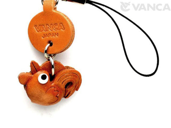 ROOSTER LEATHER CELLULARPHONE CHARM ZODIAC MASCOT