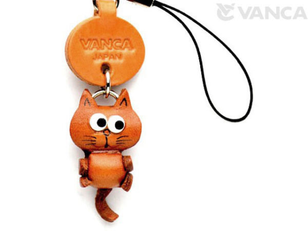 CAT LEATHER CELLULARPHONE CHARM MASCOT