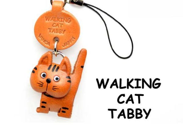 TABBY WALKING LEATHER CELLULARPHONE CHARM CAT