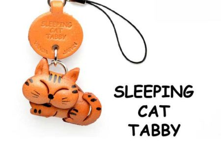TABBY SLEEPING CAT LEATHER CELLULARPHONE CHARM