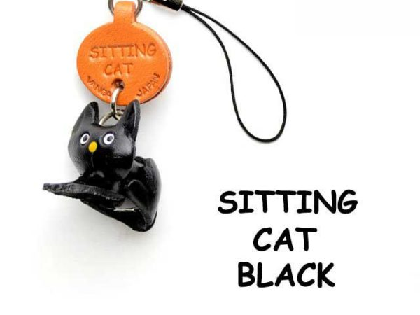 BLACK SITTING LEATHER CELLULARPHONE CHARM CAT