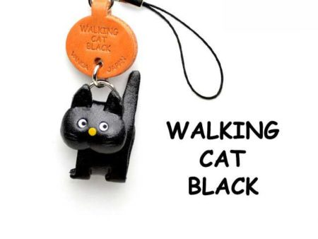 BLACK WALKING LEATHER CELLULARPHONE CHARM CAT