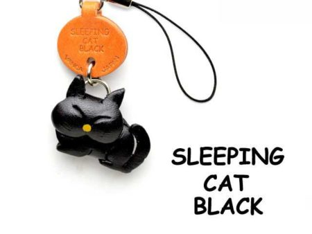 BLACK SLEEPING LEATHER CELLULARPHONE CHARM CAT