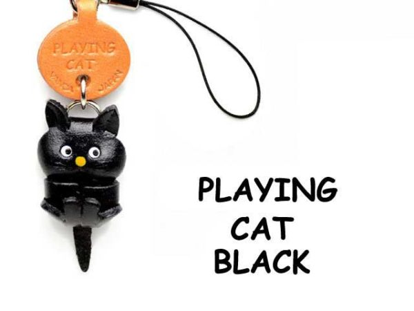 BLACK PLAYING LEATHER CELLULARPHONE CHARM CAT