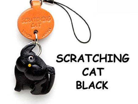BLACK SCRATCHING LEATHER CELLULARPHONE CHARM CAT