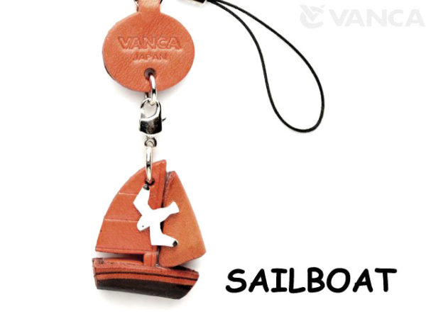 SAILBOAT LEATHER CELLULARPHONE CHARM GOODS