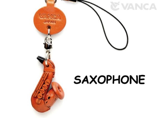 SAXOPHONE LEATHER CELLULARPHONE CHARM