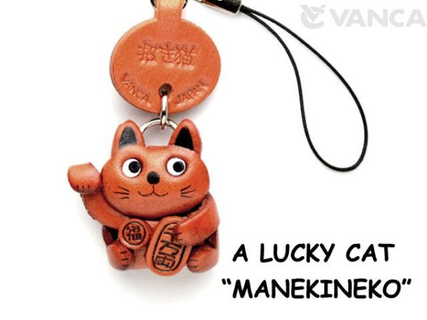 LUCKY CAT LEATHER CELLULARPHONE CHARM