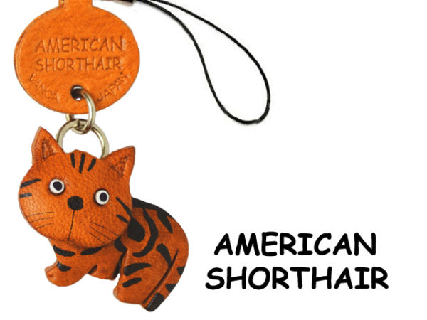 AMERICAN SHORTHAIR LEATHER CELLULARPHONE CHARM CAT
