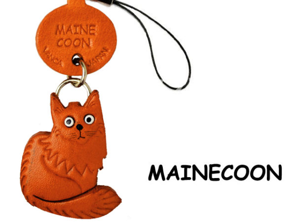 MAIN COON LEATHER CELLULARPHONE CHARM CAT