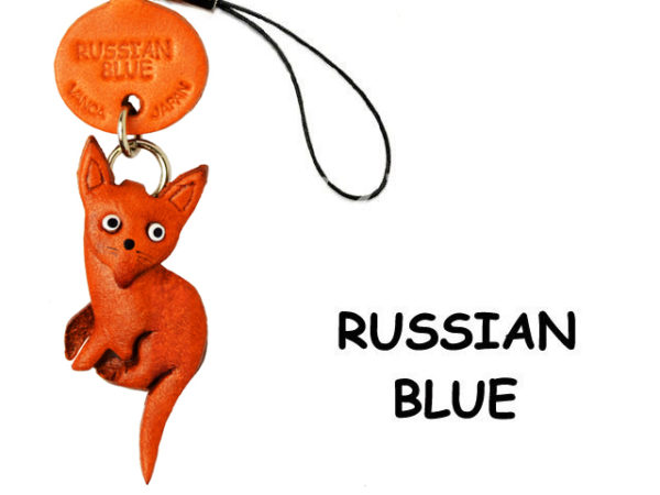 RUSSIAN BLUE LEATHER CELLULARPHONE CHARM CAT