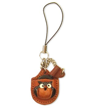 OWL LEATHER CELLULARPHONE CHARM MAGNIFYING GLASS