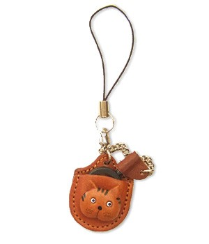 CAT LEATHER CELLULARPHONE CHARM MAGNIFYING GLASS