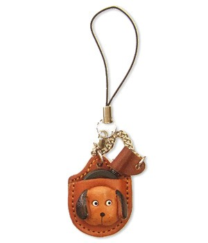 DOG0 LEATHER CELLULARPHONE CHARM MAGNIFYING GLASS