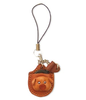 PIG LEATHER CELLULARPHONE CHARM MAGNIFYING GLASS